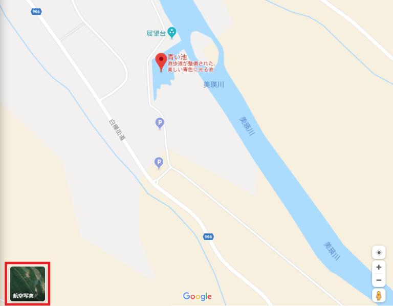 Googleマップの航空写真の表示方法